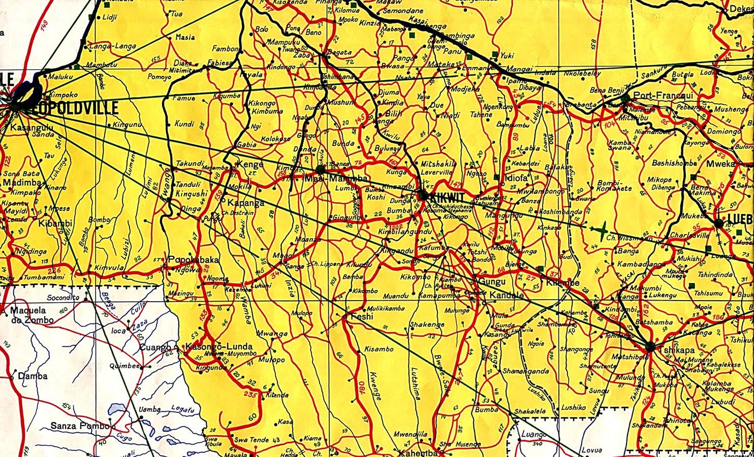 Mapa Topográfico de la Región Oeste Central de la República Democrática del Congo (Zaire) 1961