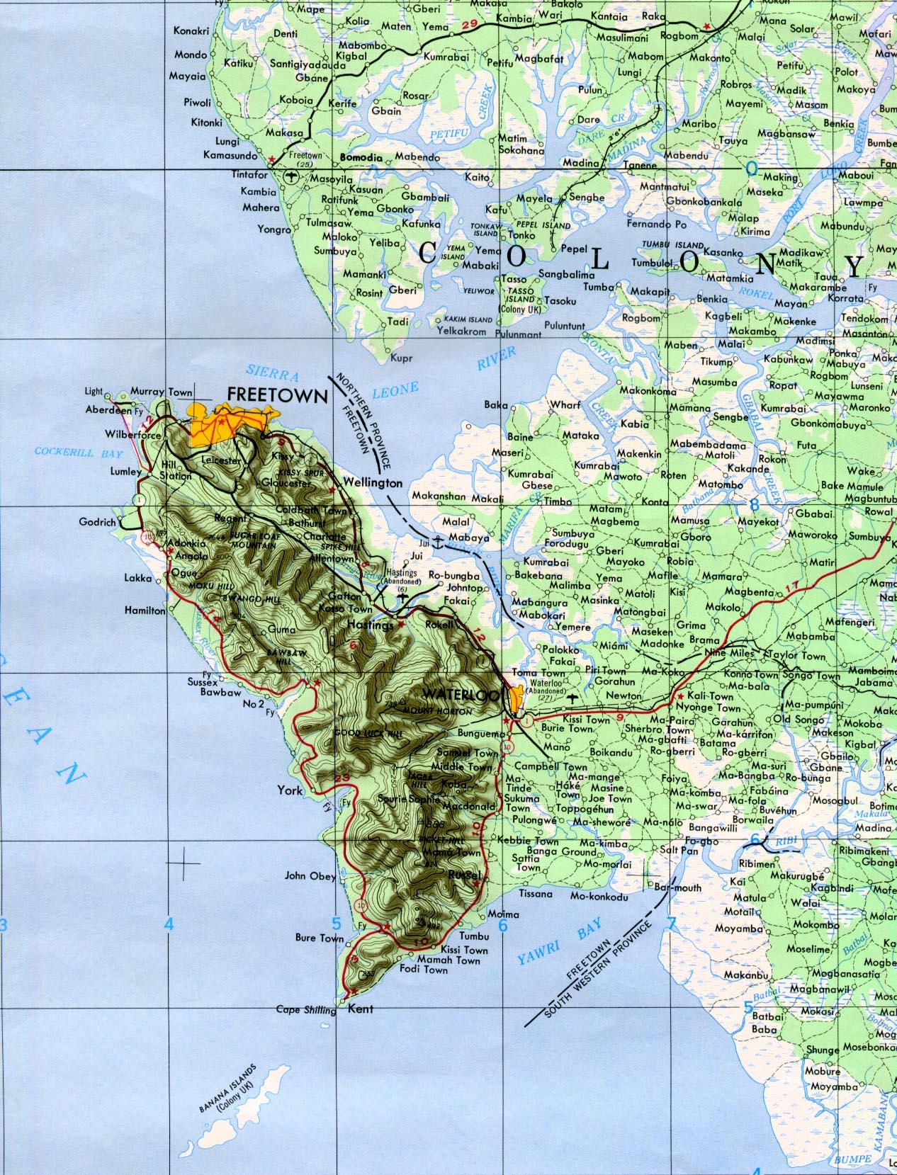 Mapa Topográfico de la Región de Freetown, Sierra Leona 1958