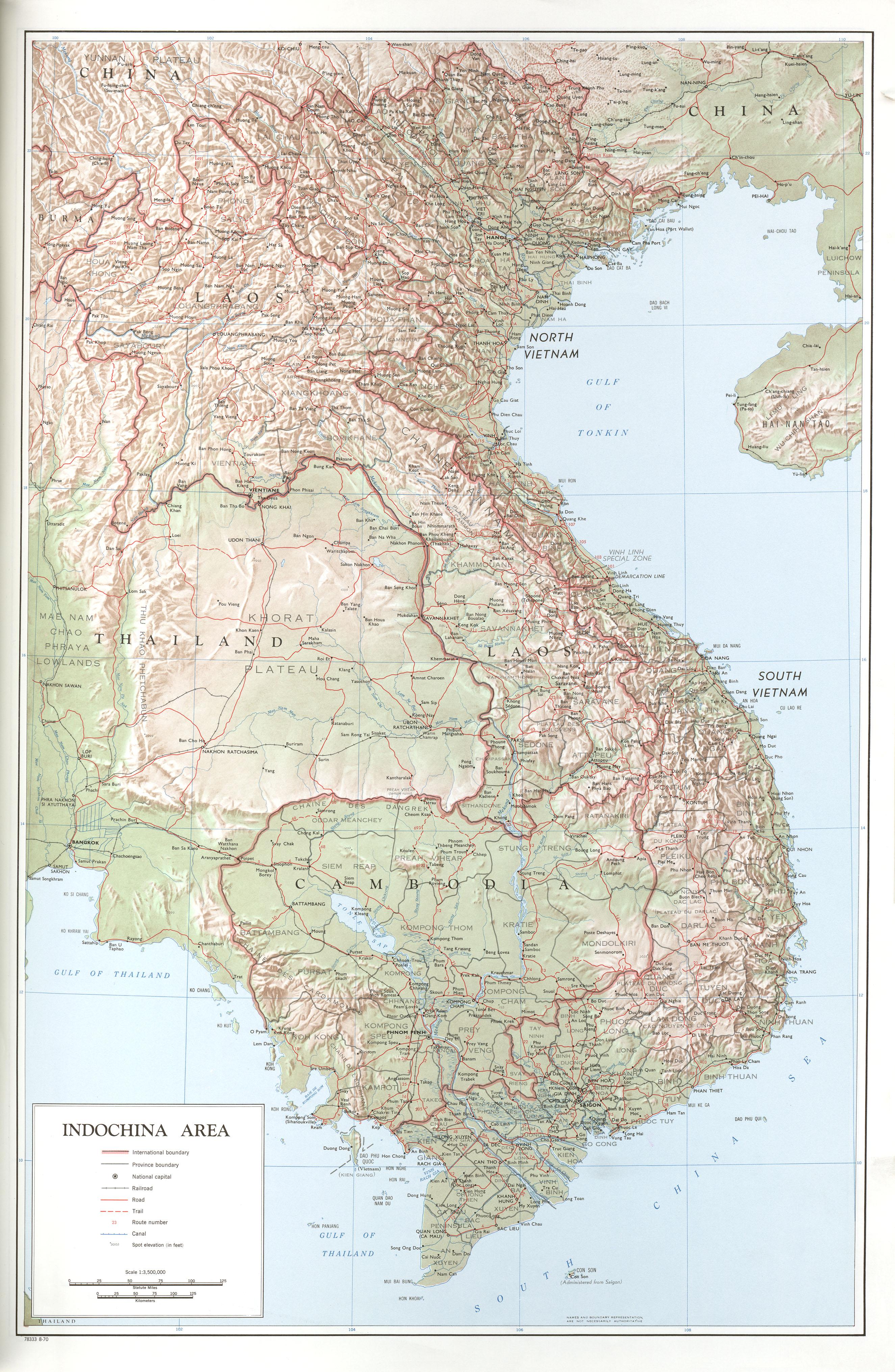 Mapa Topográfico de la Región de Indochina