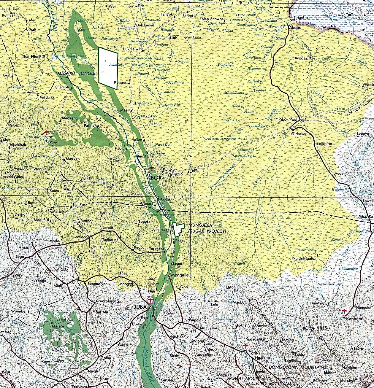 Mapa Topográfico de la Región de Juba, Sudán