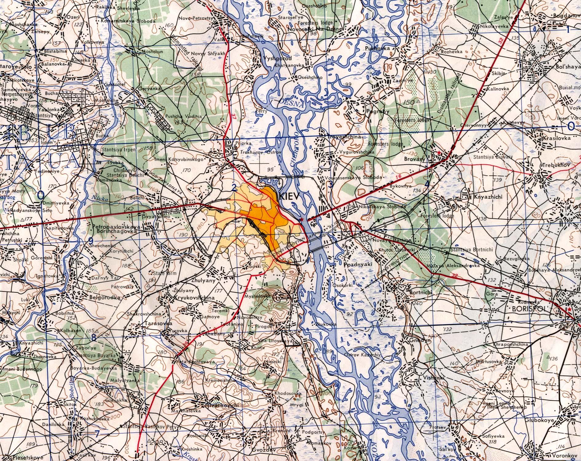 Mapa Topográfico de la Región de Kiev, Ucrania 1953