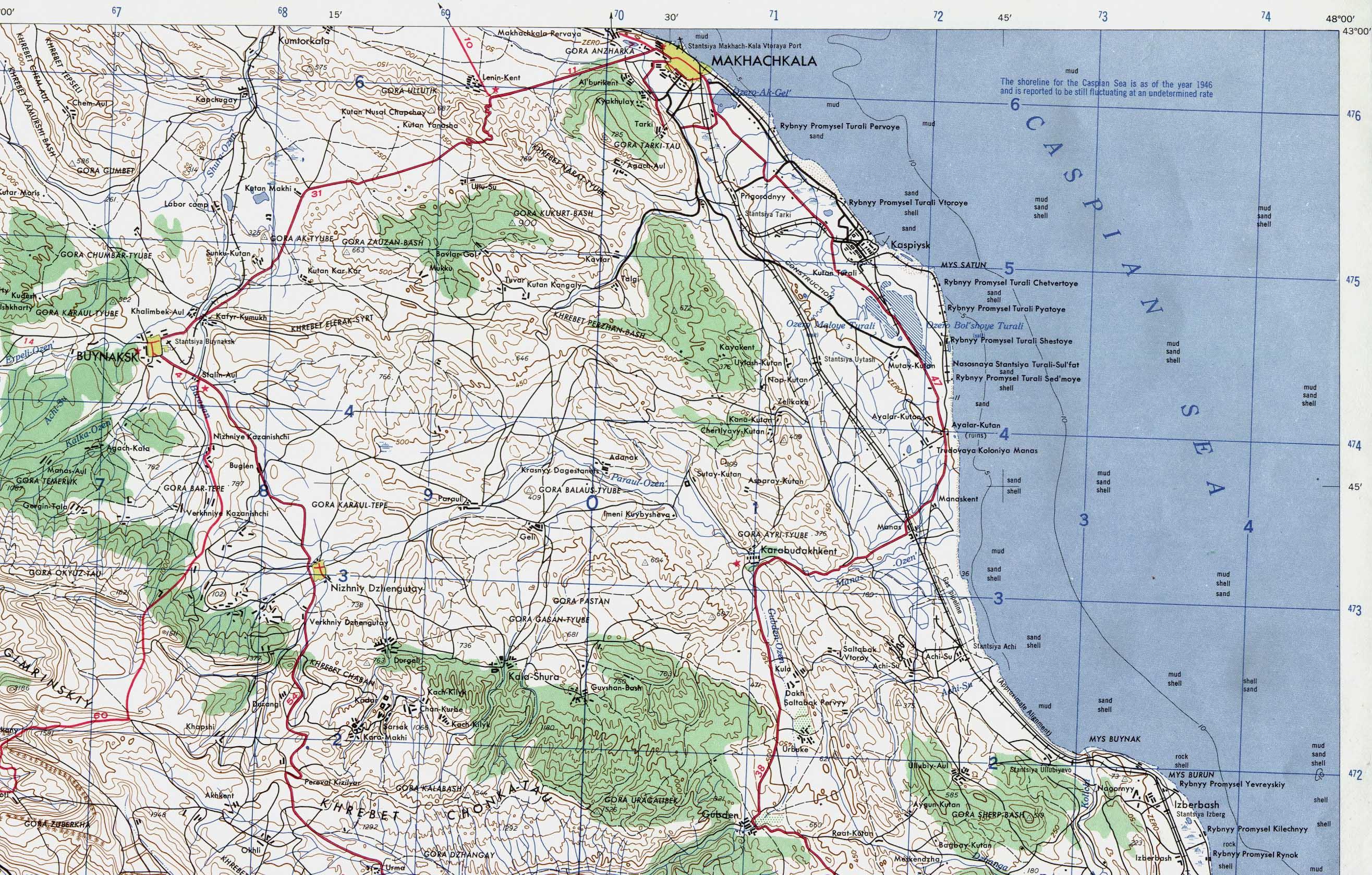 Mapa Topográfico de la Región de Majachkalá, Daguestán, Rusia 1958