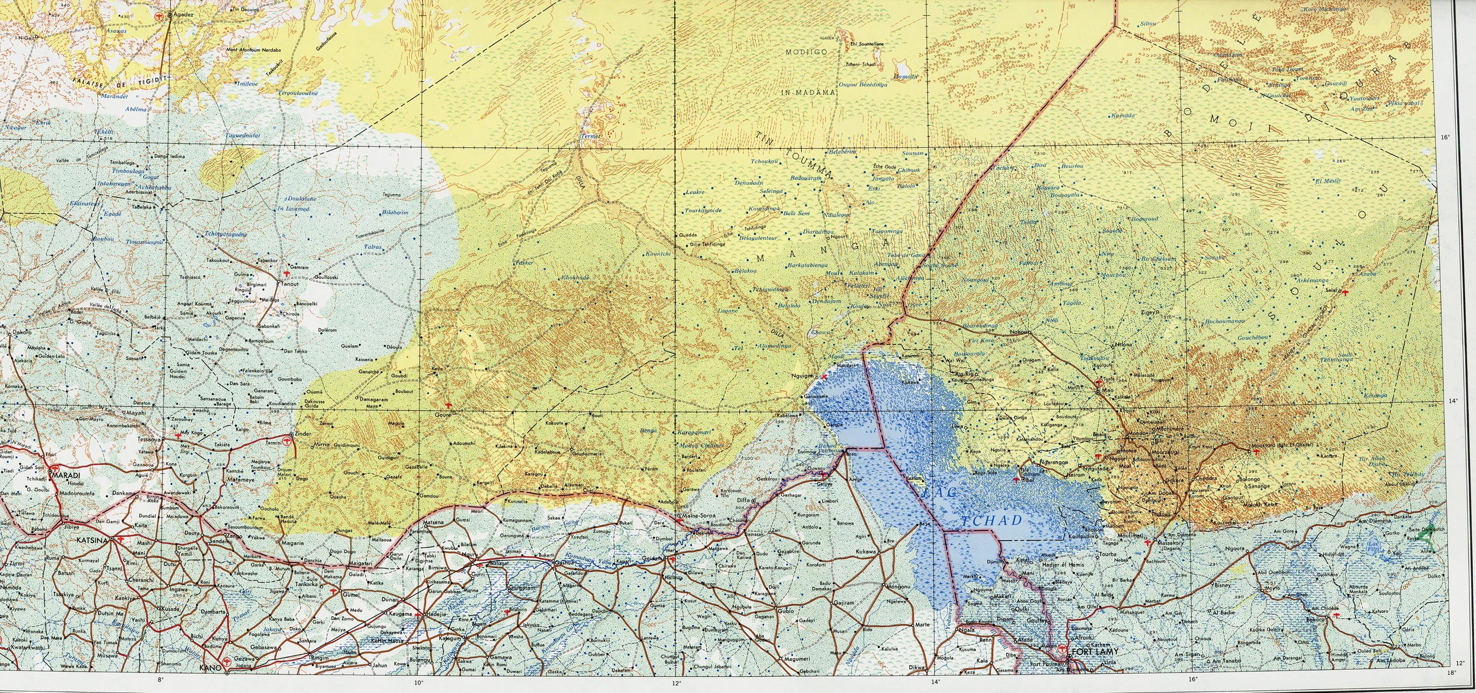 Topographic Map of Lake Chad Area and Eastern Niger