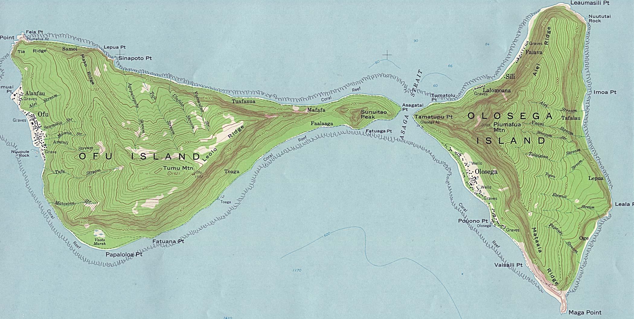 Mapa Topográfico de las Islas Ofu y Olosega, Islas Manu'a, Samoa Americana
