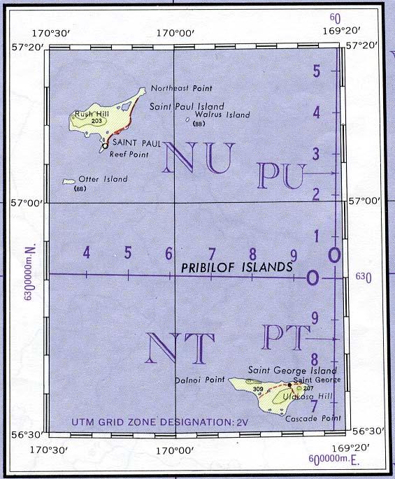 Mapa Topográfico de las Islas Pribilof, Alaska, Estados Unidos