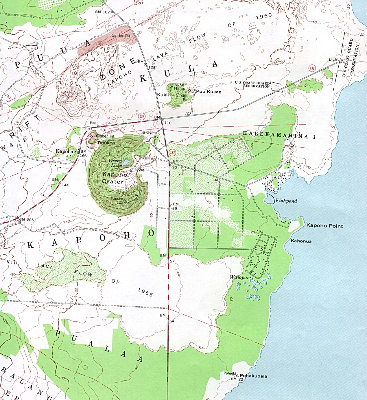 Kapoho Crater Topographic Map, Hawaii, United States
