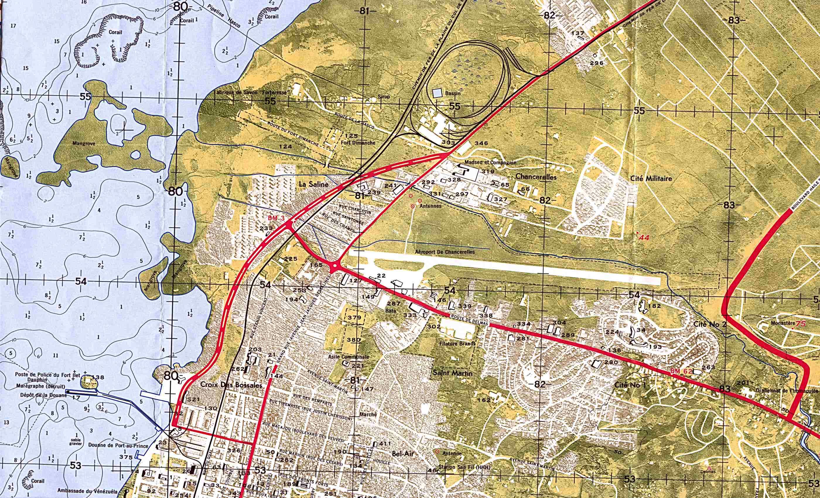 Mapa Topográfico del Norte de la Ciudad de Puerto Príncipe (Aeropuerto Militar)