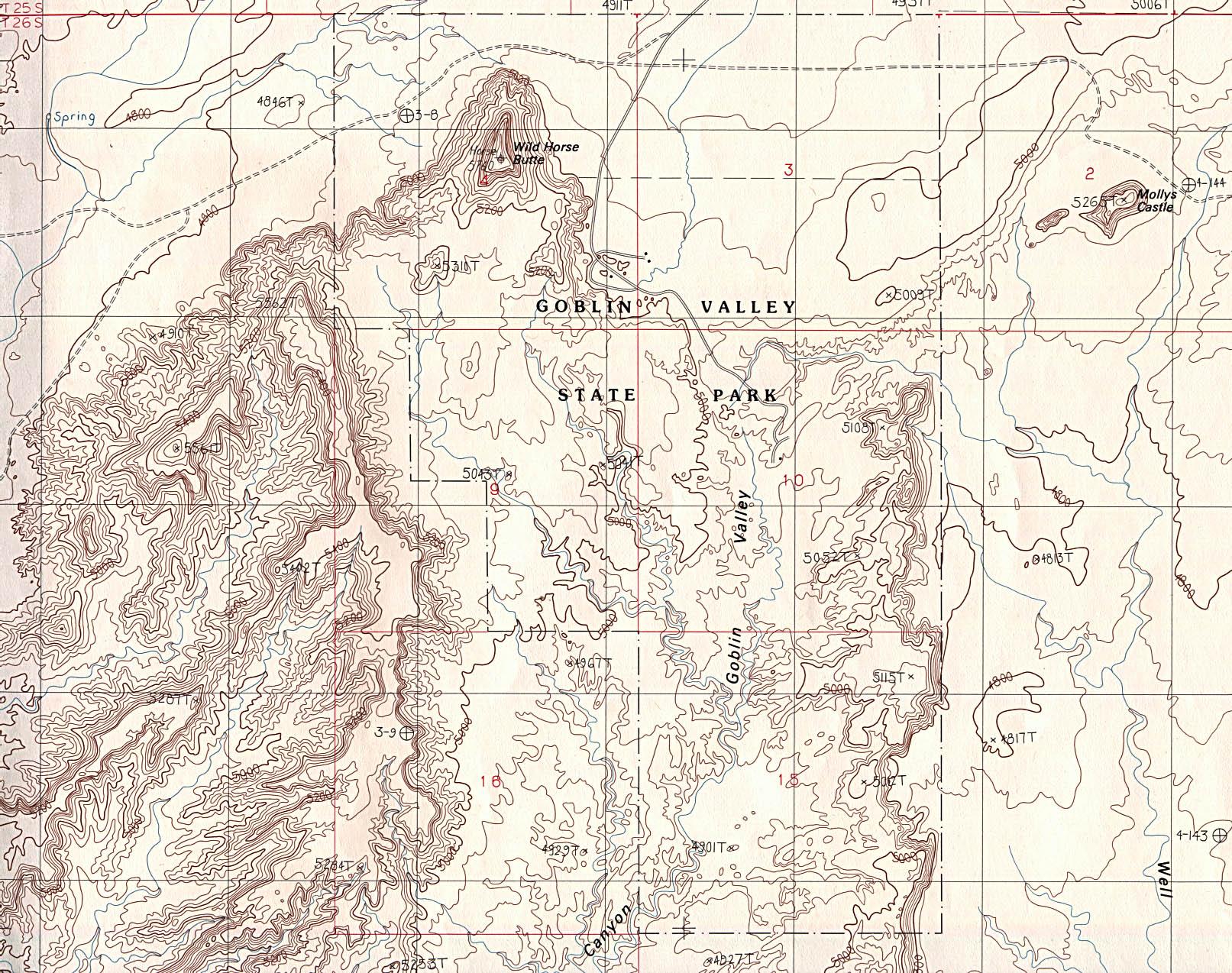 Mapa Topográfico del Parque Estatal Goblin Valle, Utah, Estados Unidos