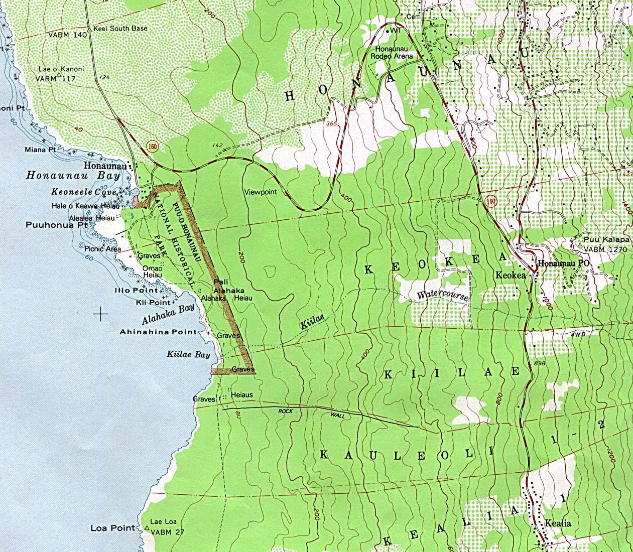Mapa Topográfico del Parque Nacional Histórico Pu'uhonua Honaunau, Hawái, Estados Unidos