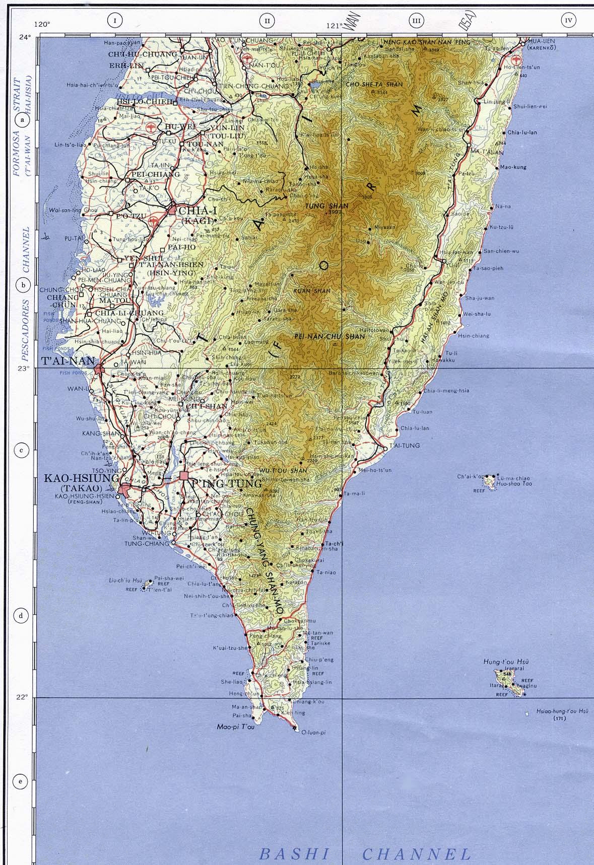 Mapa Topográfico del Sur de Taiwán 1958