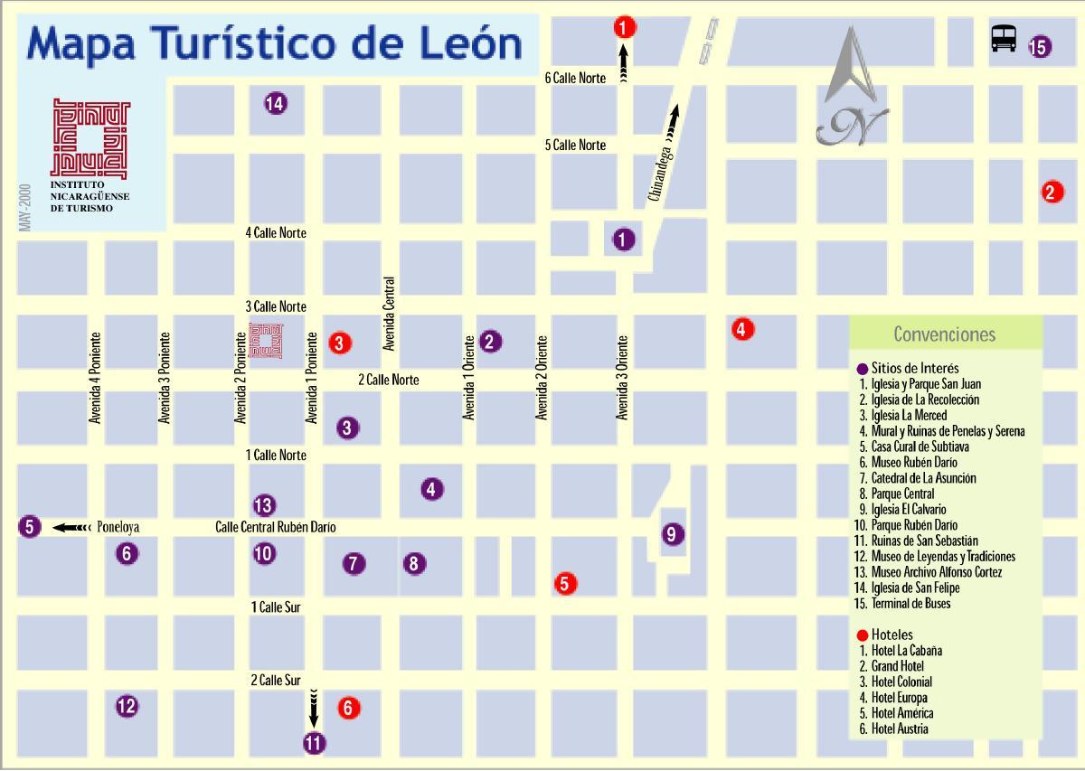 Mapa Turístico de León, Nicaragua