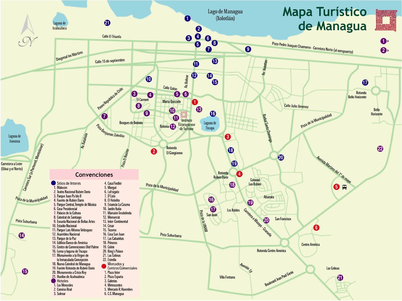 Mapa Turístico de Managua, Nicaragua