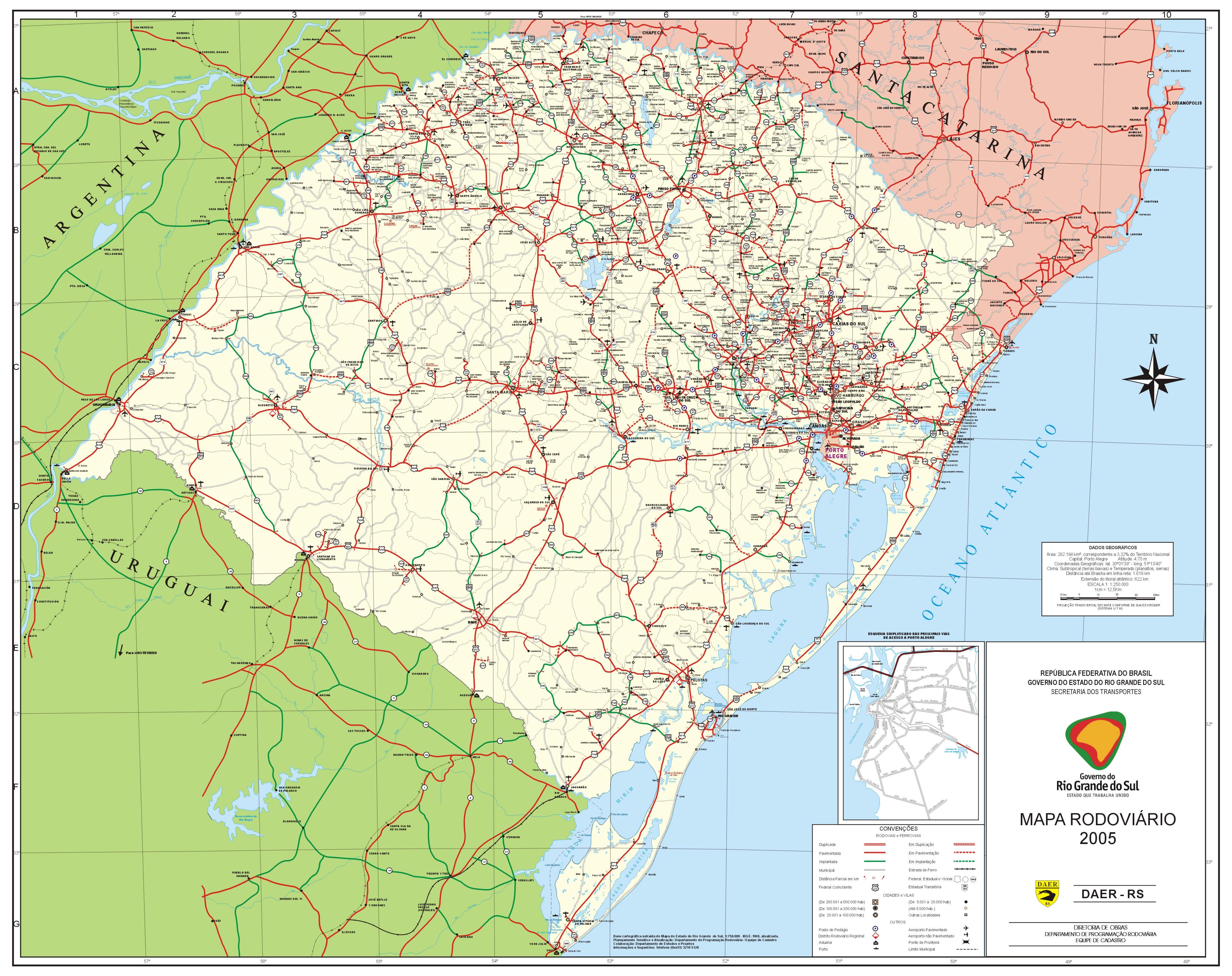 Mapa Vial del Estado de Rio Grande do Sul, Brasil