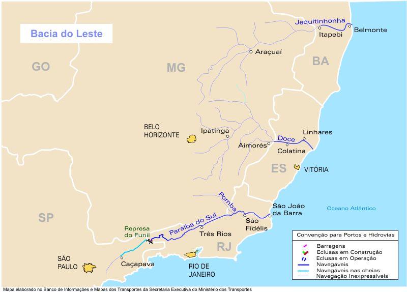 Mapa, Vias Fluviales y Canales, Cuenca del Este, Brasil