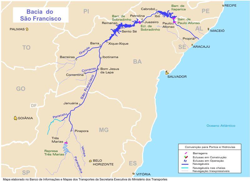 Mapa, Vias Fluviales y Canales, Cuenca del Rio San Francisco, Brasil