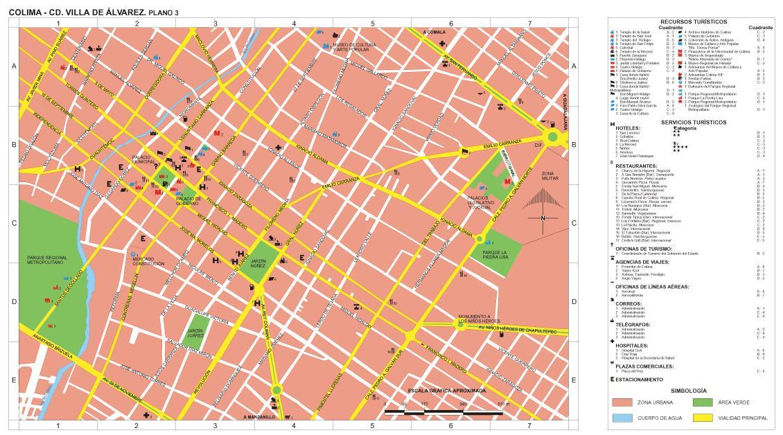Villa de Alvarez Downtown Map, Colima, Mexico