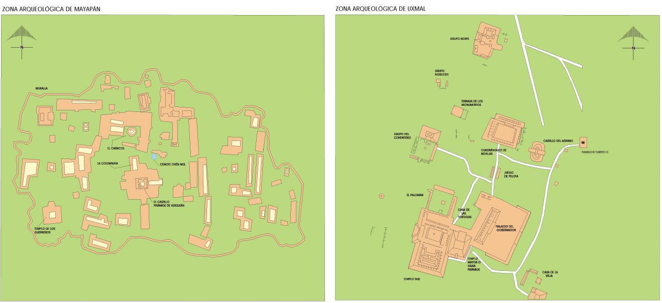 Mayapan & Uxmal Archaeological Sites Map, Yucatan, Mexico