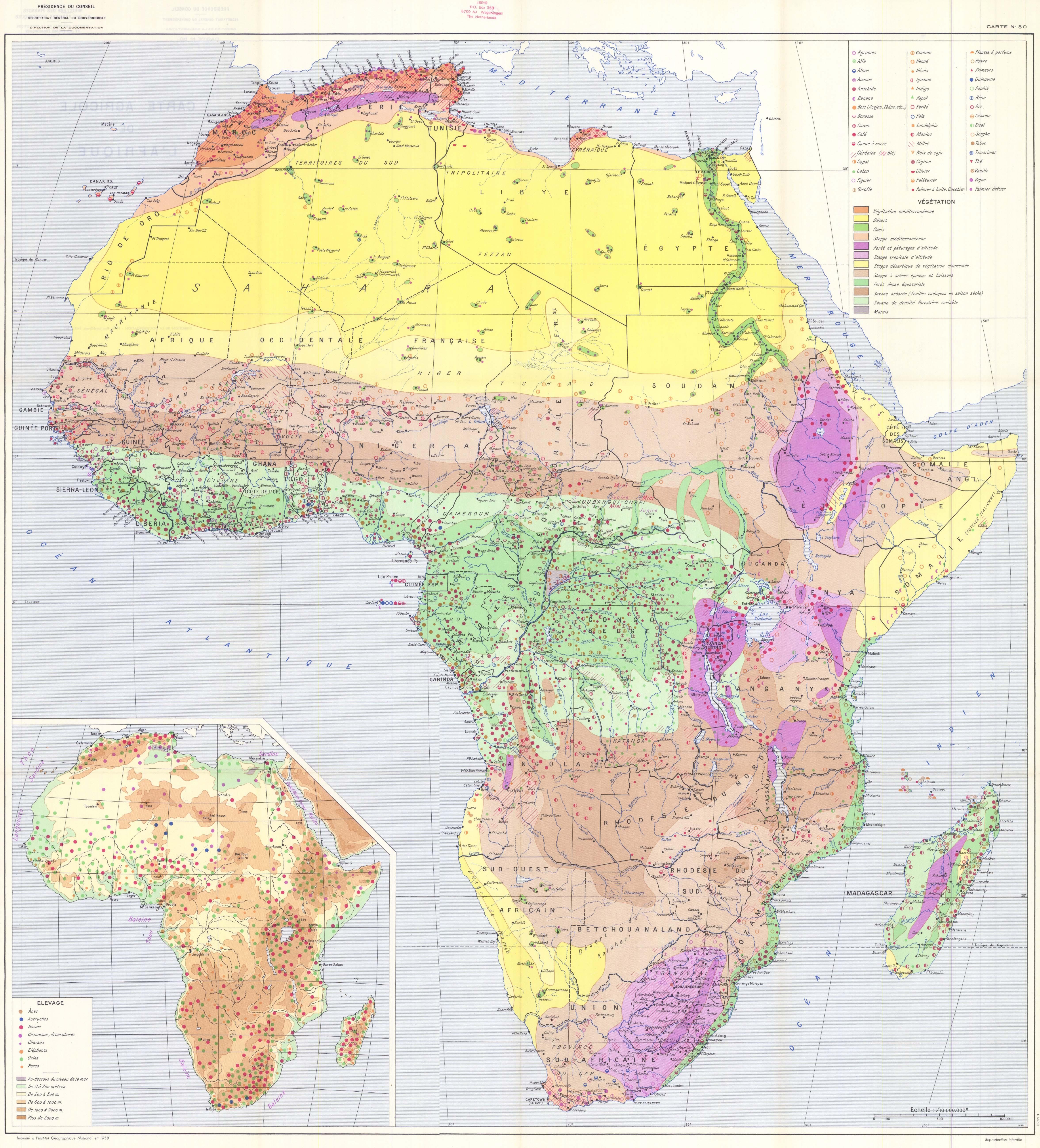 Mapa agrícola de África 1958