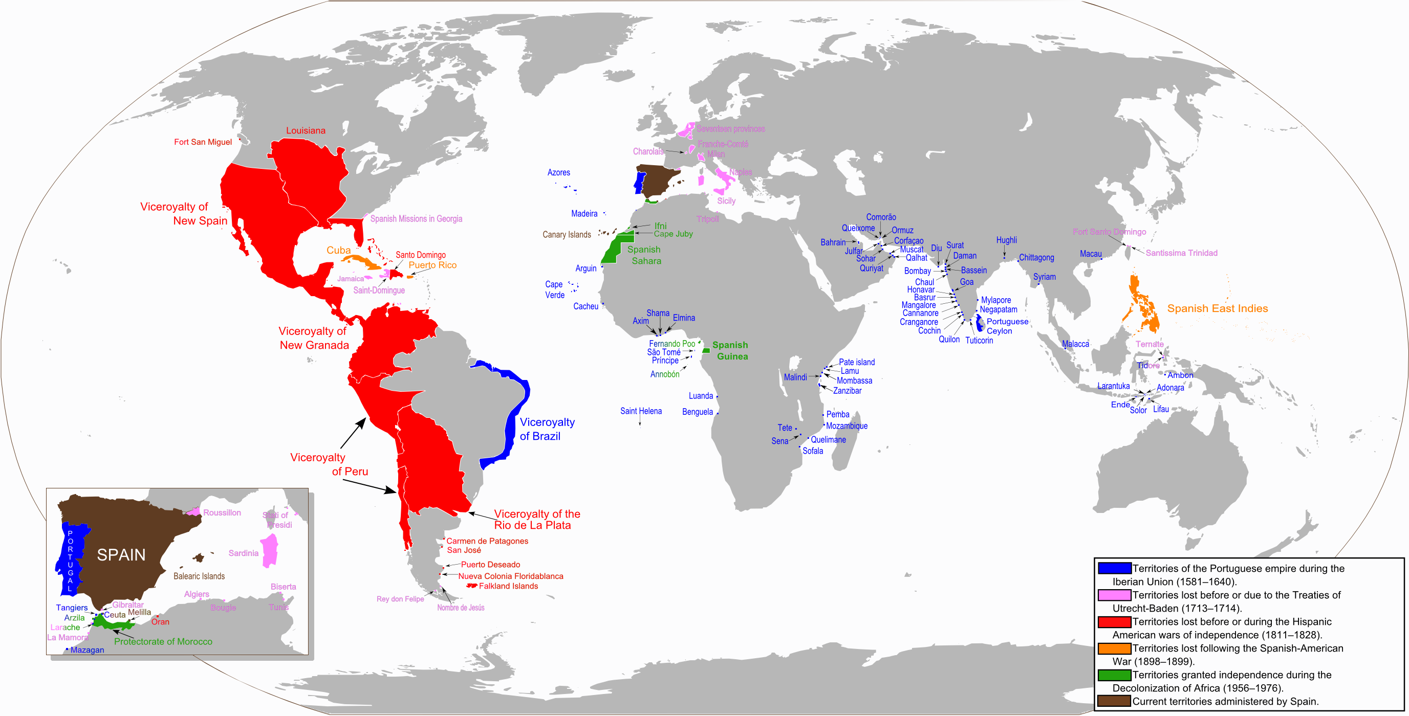 Anachronous map of the Spanish Empire