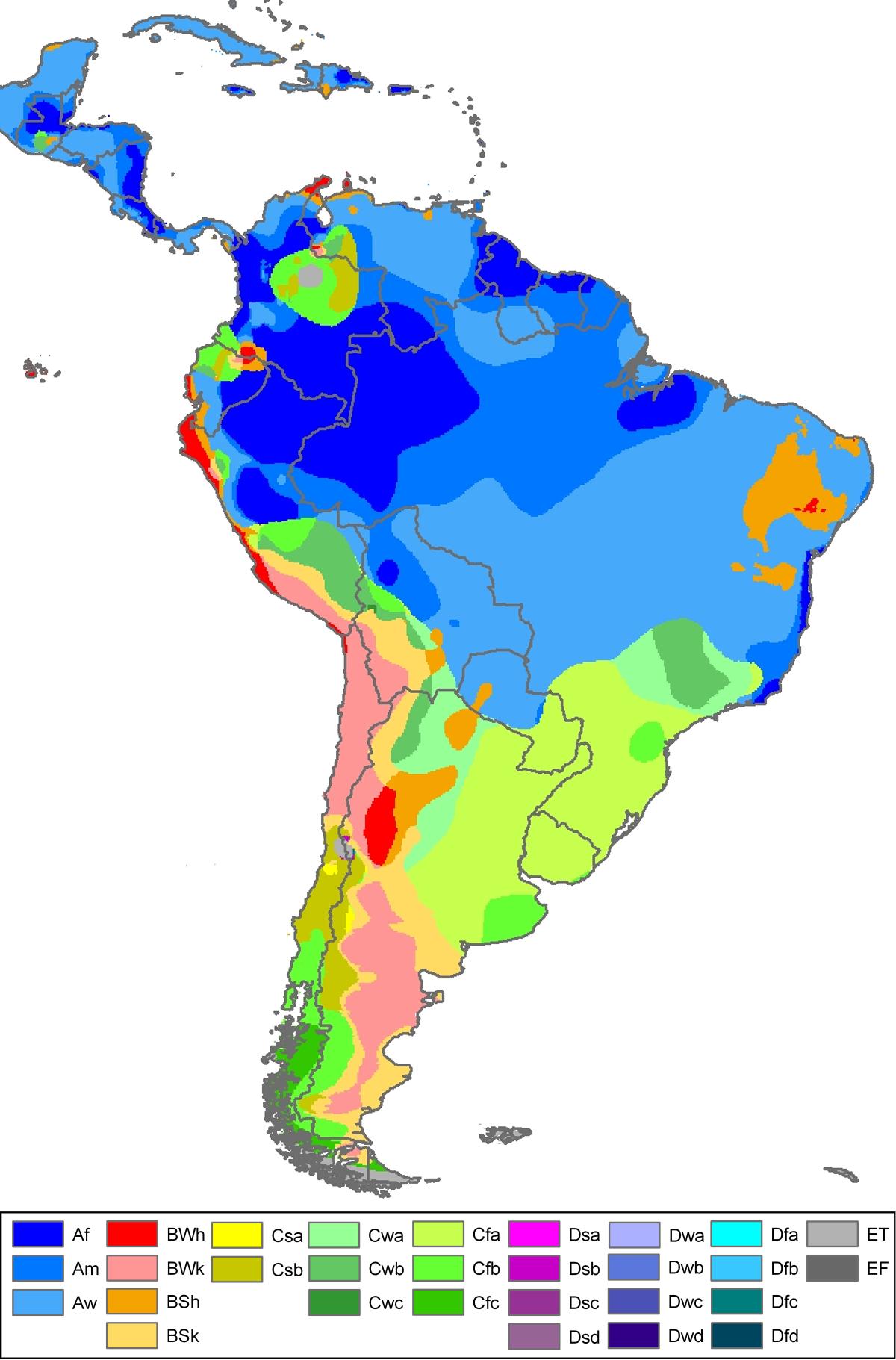 Mapa climático de América del Sur 2007