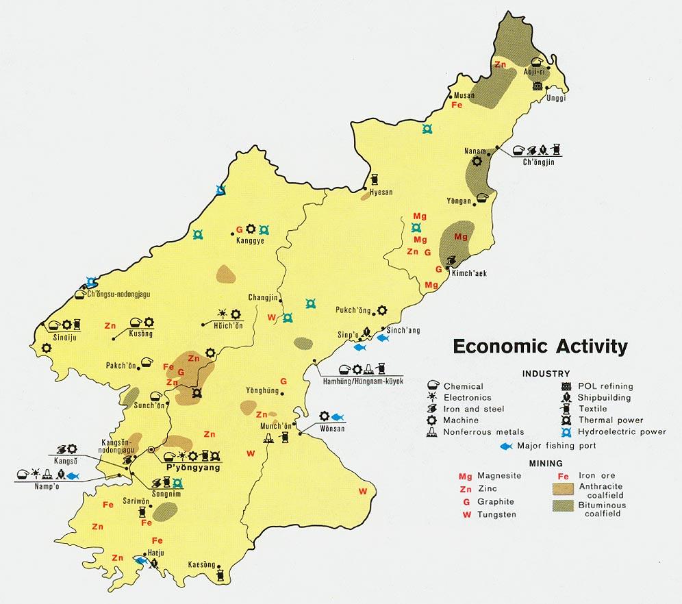 Mapa de Actividad Económica de Corea del Norte