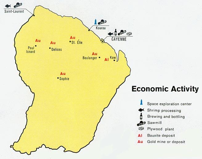 Mapa de Actividad Económica de Guayana Francesa