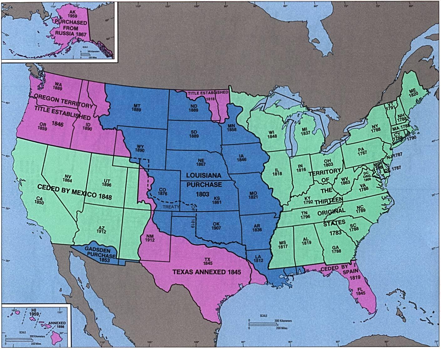 Mapa de Admisión de Estados y Adquisición Territorial, Estados Unidos