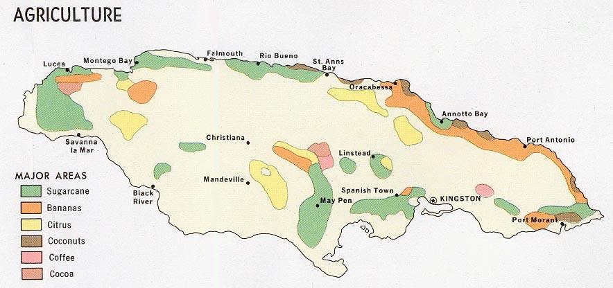 Mapa de Agricultura de Jamaica