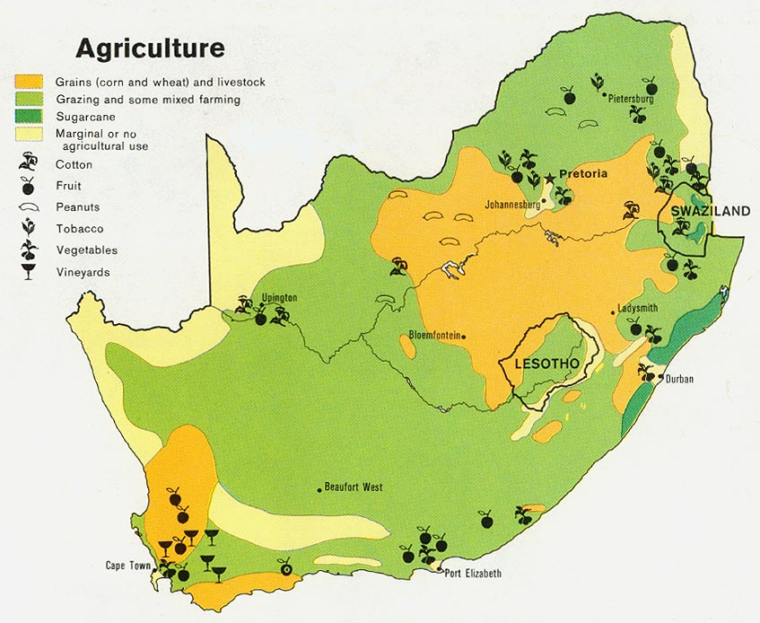 Maps of South Africa Agriculture Economic Map   mapa.owje.com