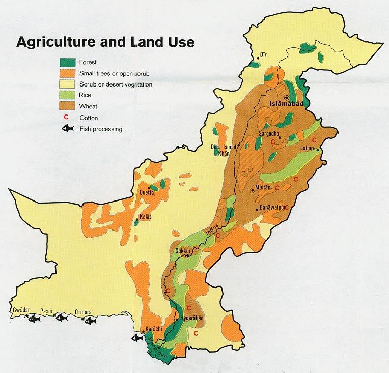 Mapa de Agricultura y del Uso de la Tierra de Pakistán
