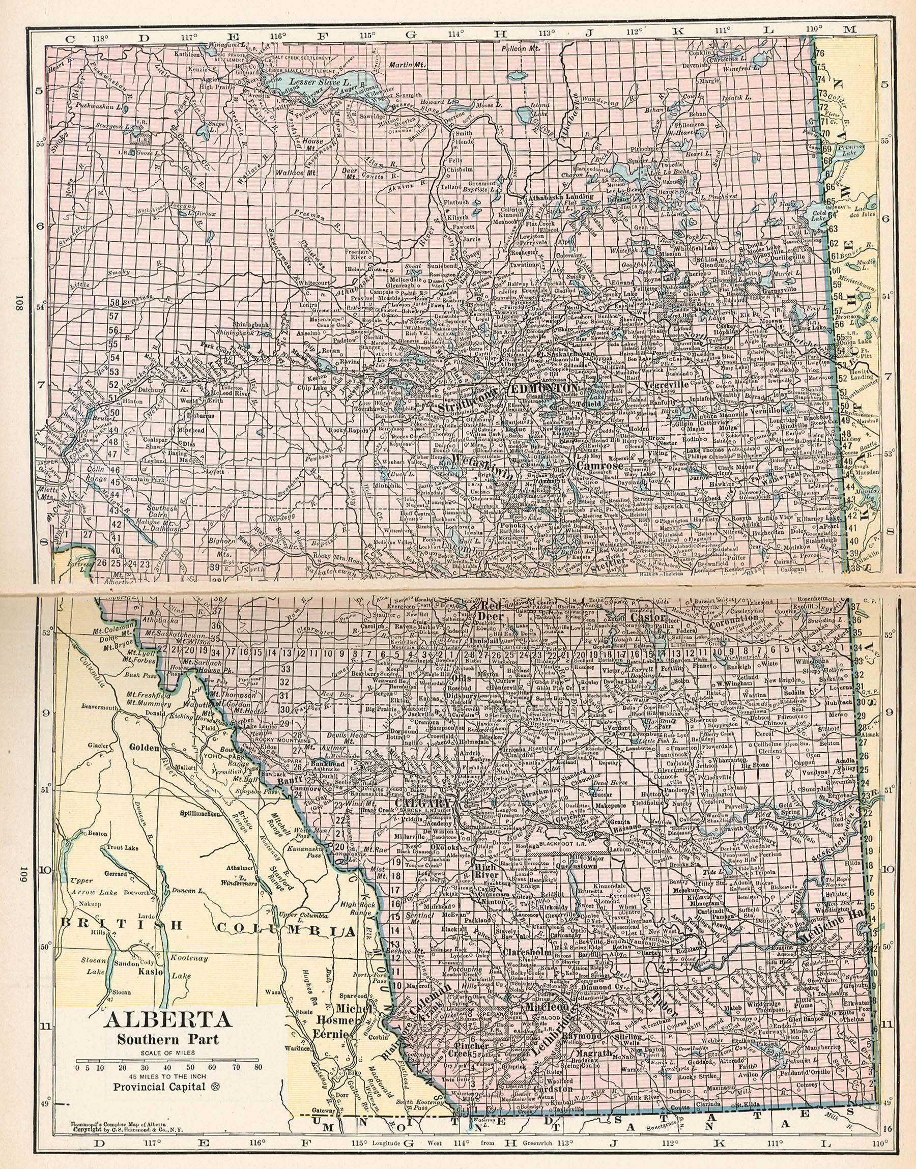 Mapa de Alberta, Canadá 1921