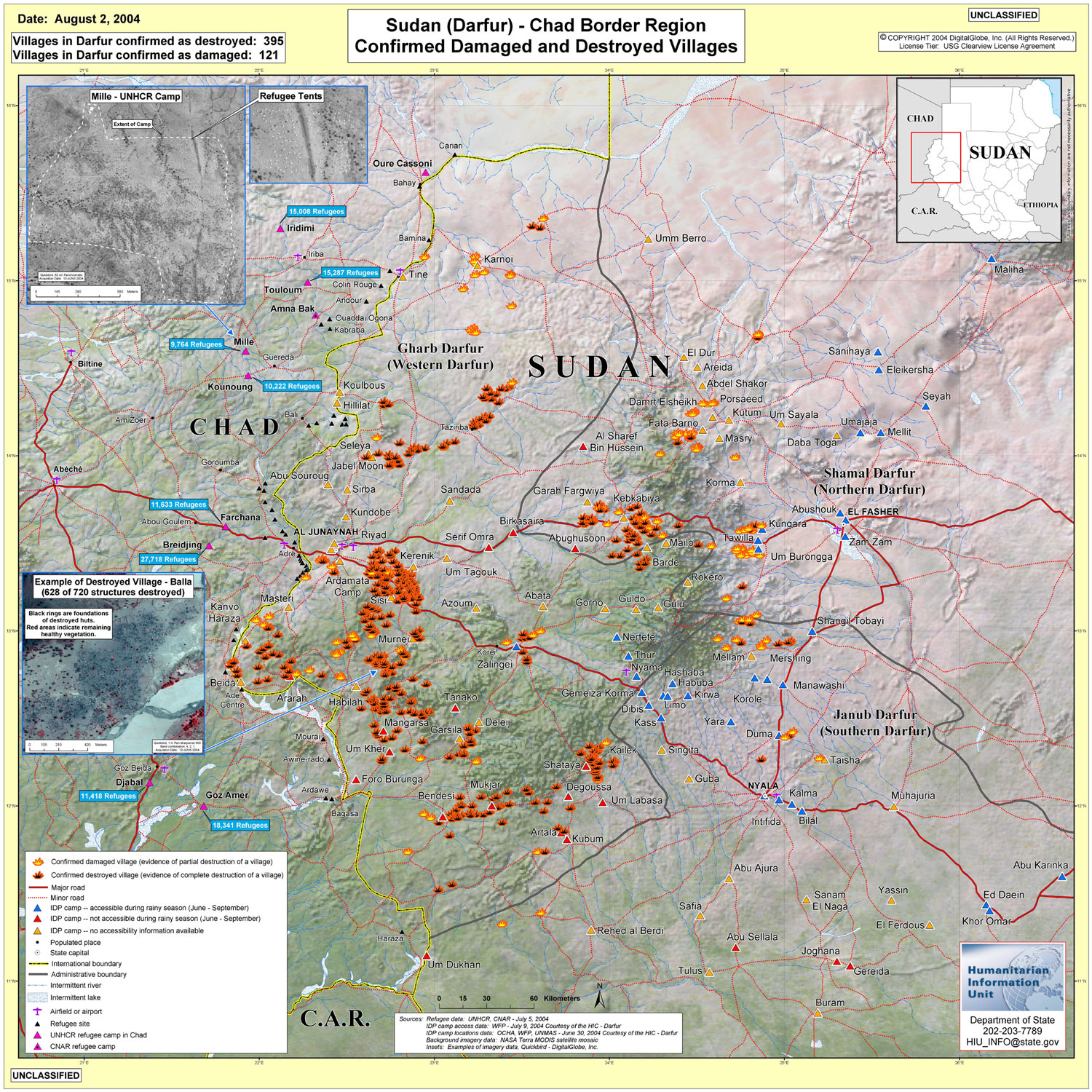 Map of Confirmed Damaged and Destroyed Villages, Darfur, Sudan, August 2, 2004