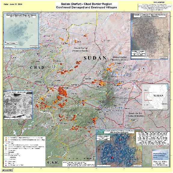 Map of Confirmed Damaged and Destroyed Villages, Darfur, Sudan, June 21, 2004