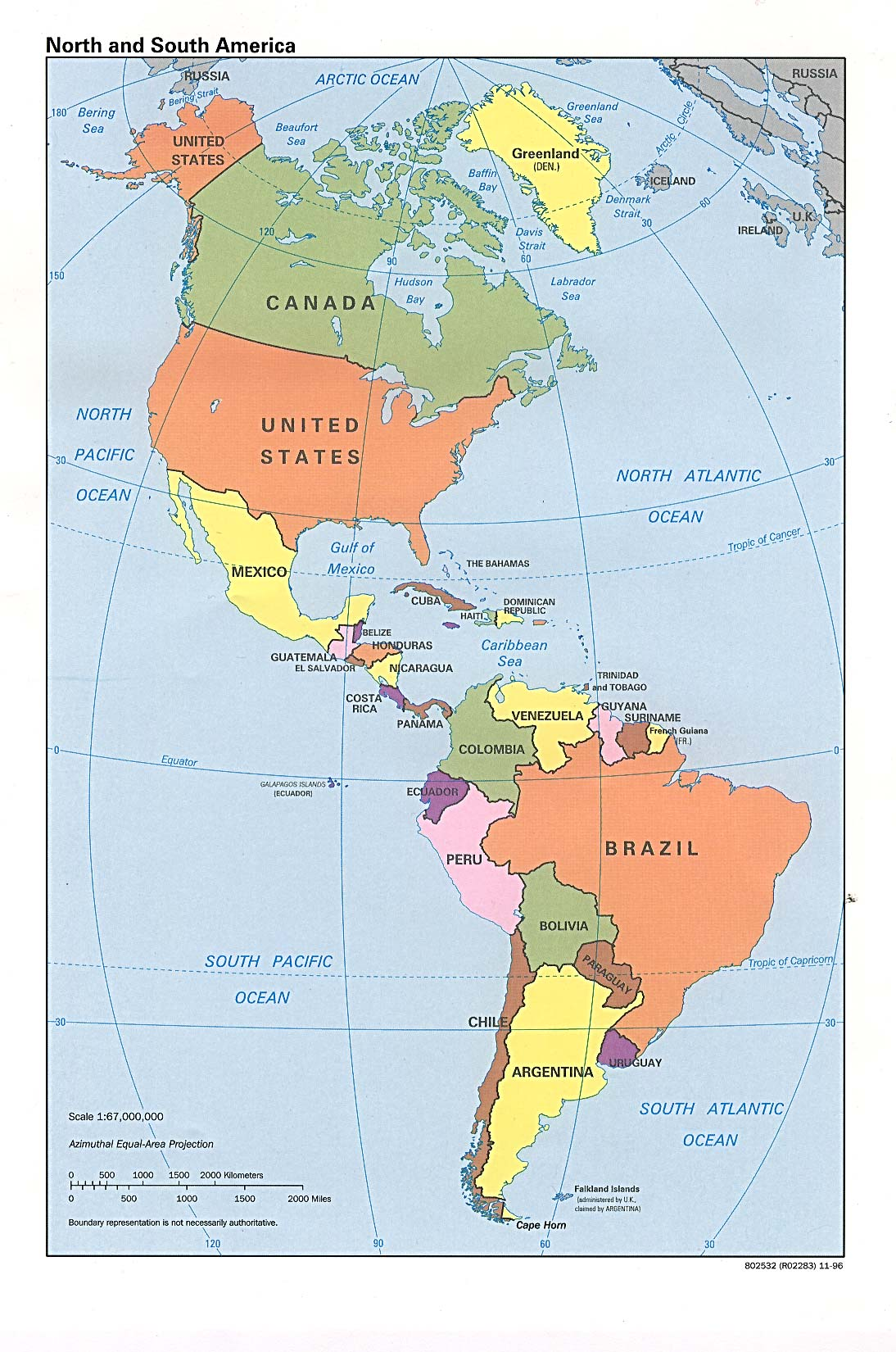 Map of the Americas 1996