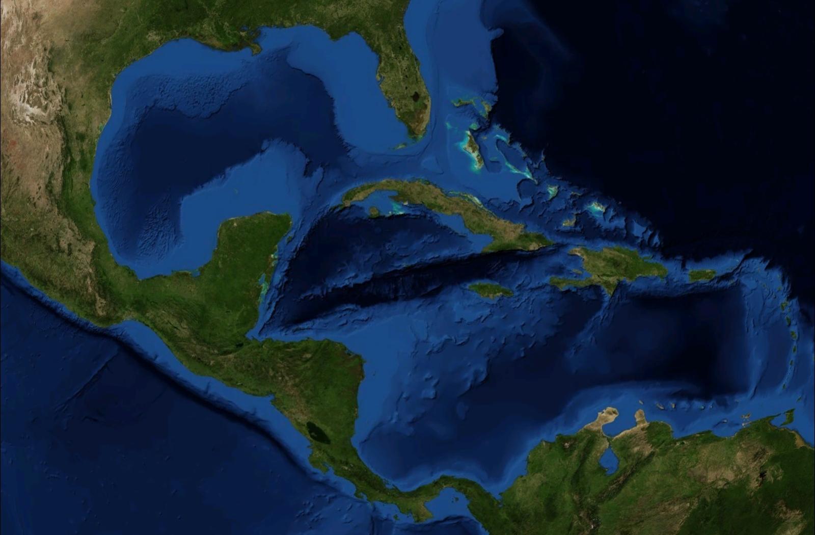 Mapa de América Central y del Caribe (satelital)