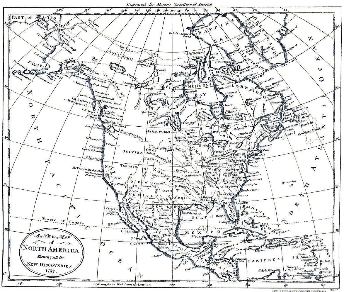 Mapa de América del Norte 1797