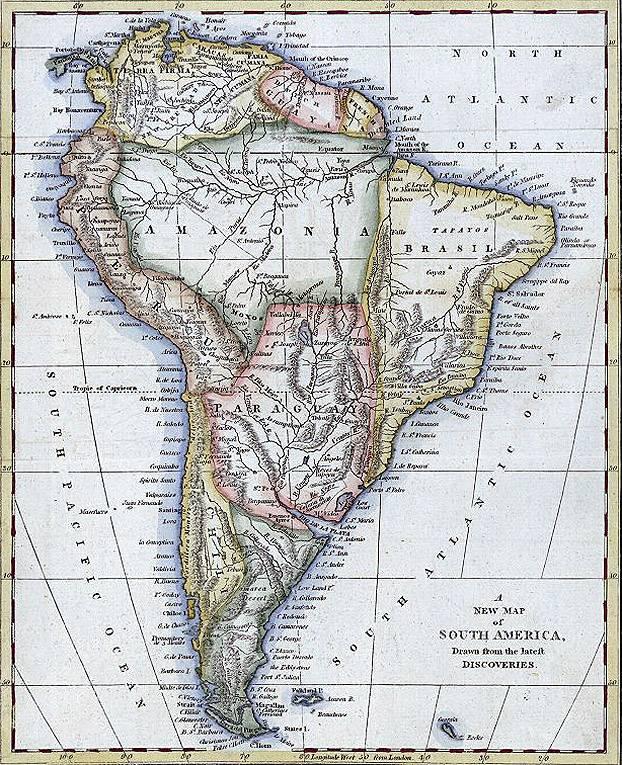 Mapa de América del Sur 1794