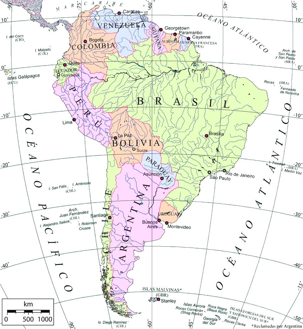 Mapa de América del Sur en español