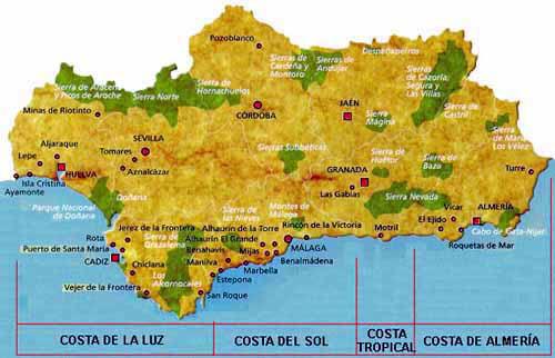 Mapa de Andalucia, España