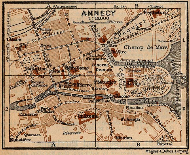 Mapa de Annecy, Francia 1914