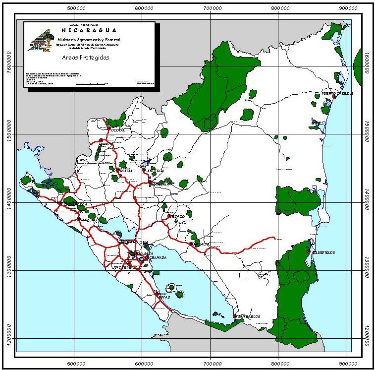 Nicaragua's Legally Protected Natural Area Map