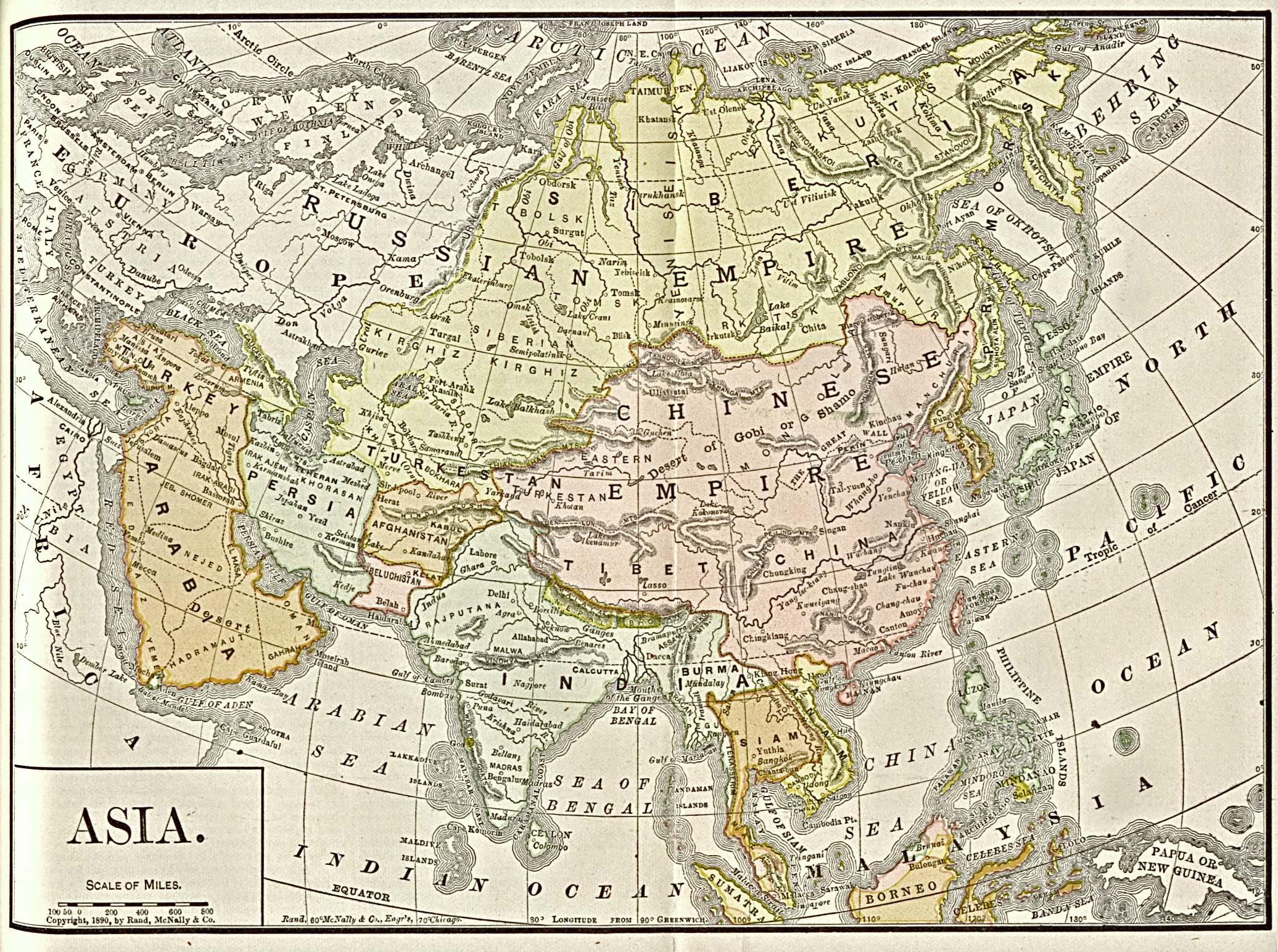 Mapa de Asia 1892