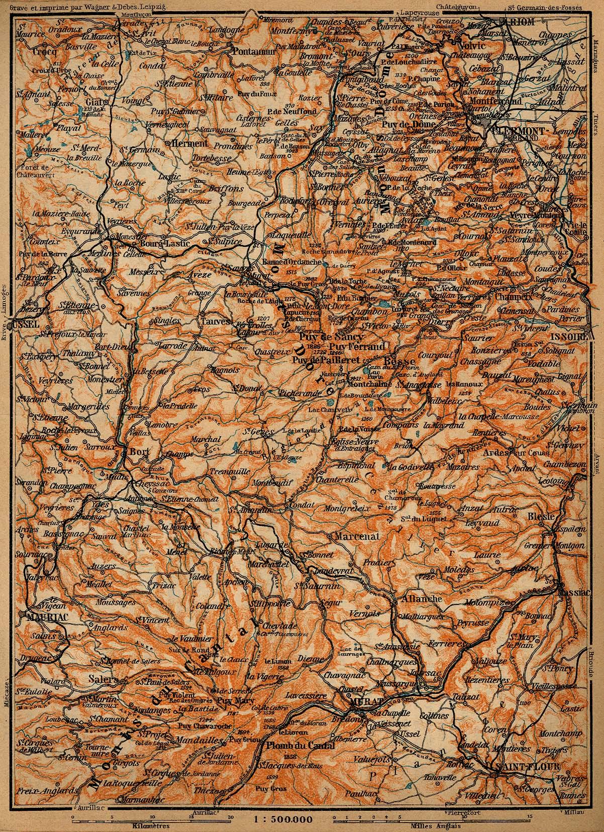Mapa de Auvernia, Francia 1914