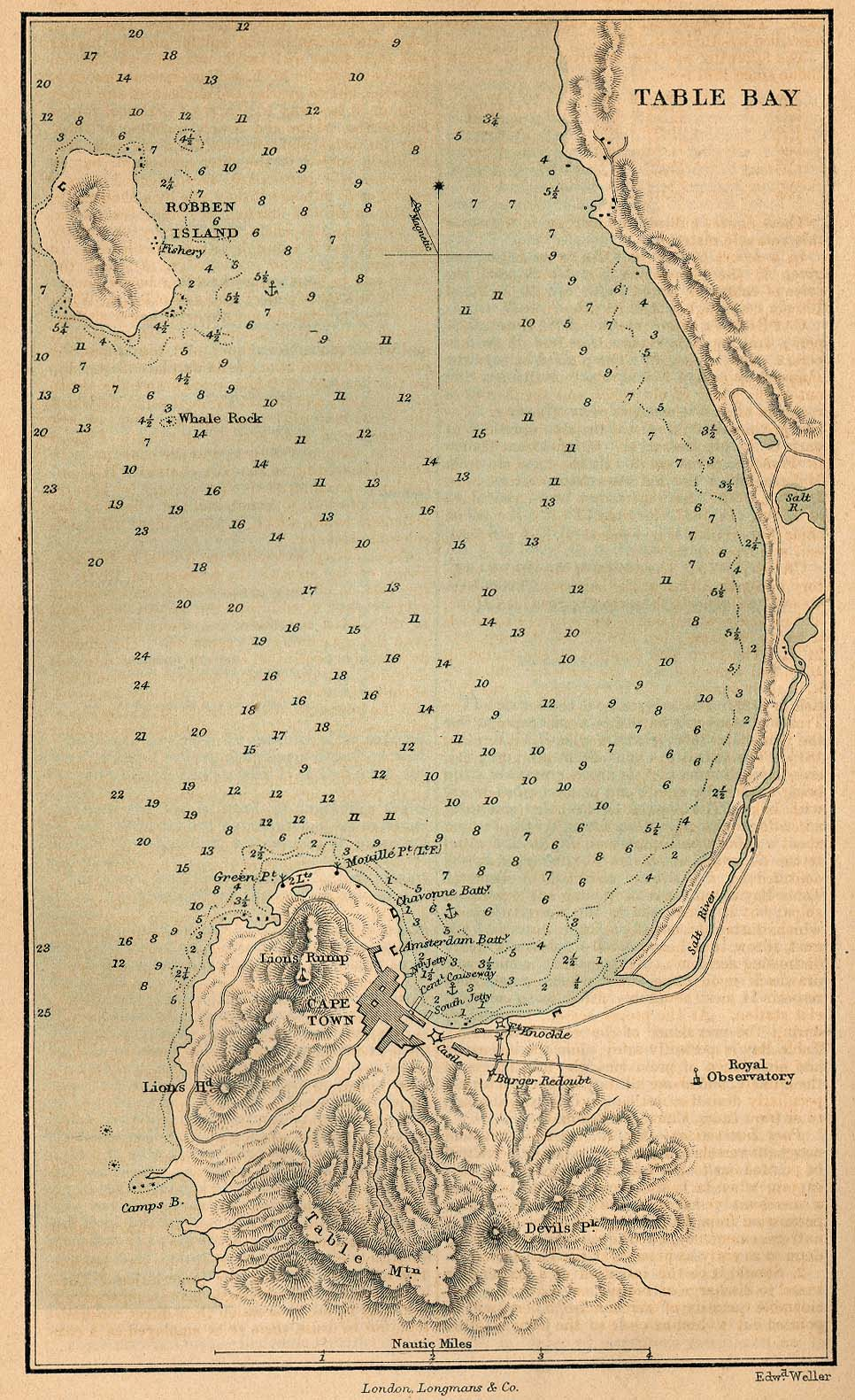 Table Bay Map, South Africa 1882