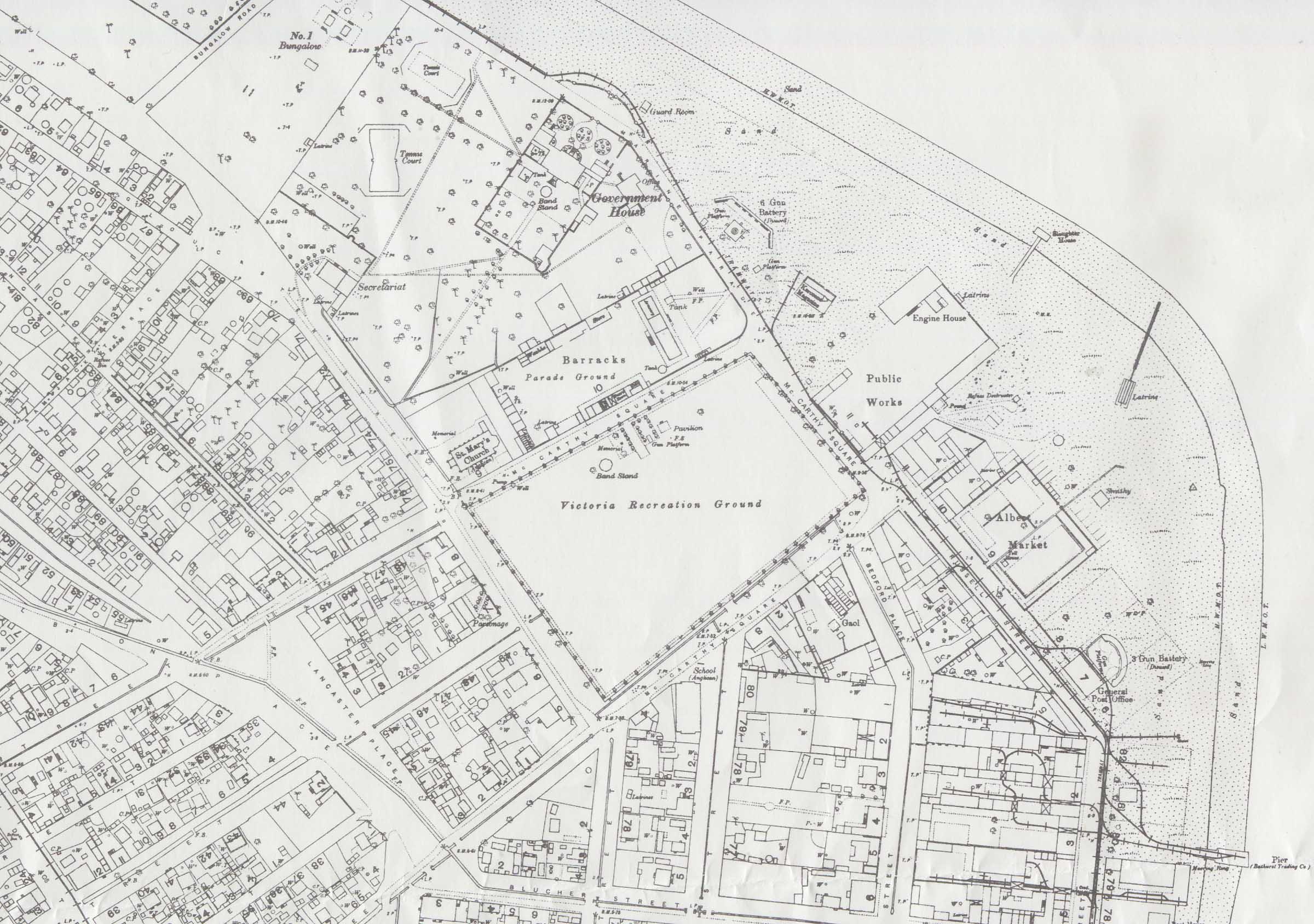 Mapa de Banjul (Bathurst), Gambia 1941