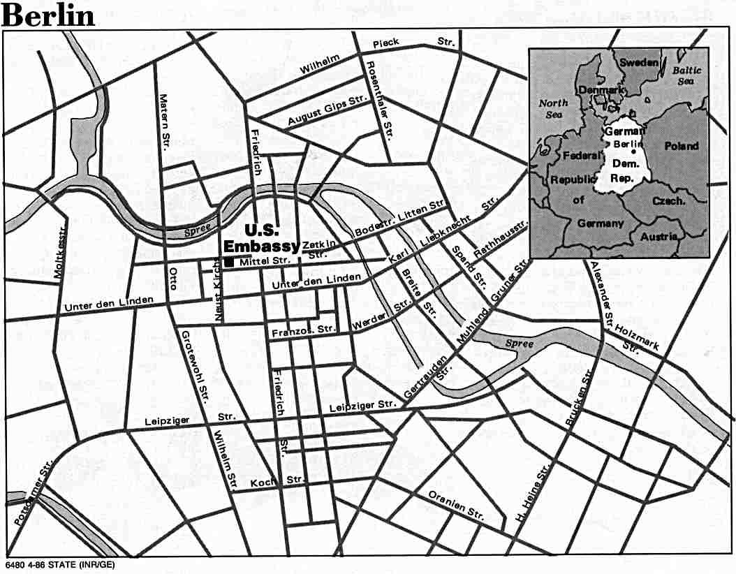 Berlin (East) Map, Germany 1986