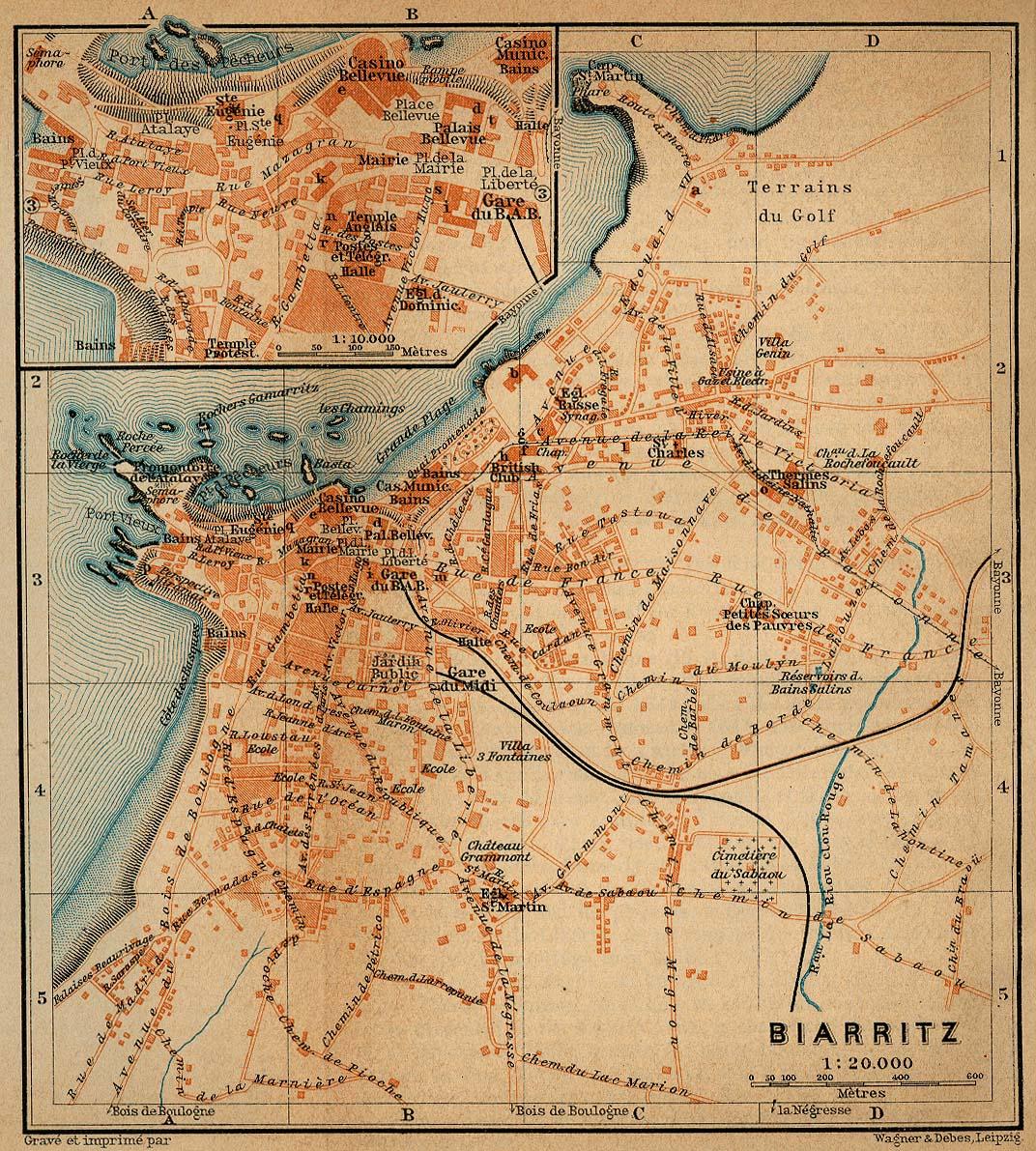 Mapa de Biarriz, Francia 1914