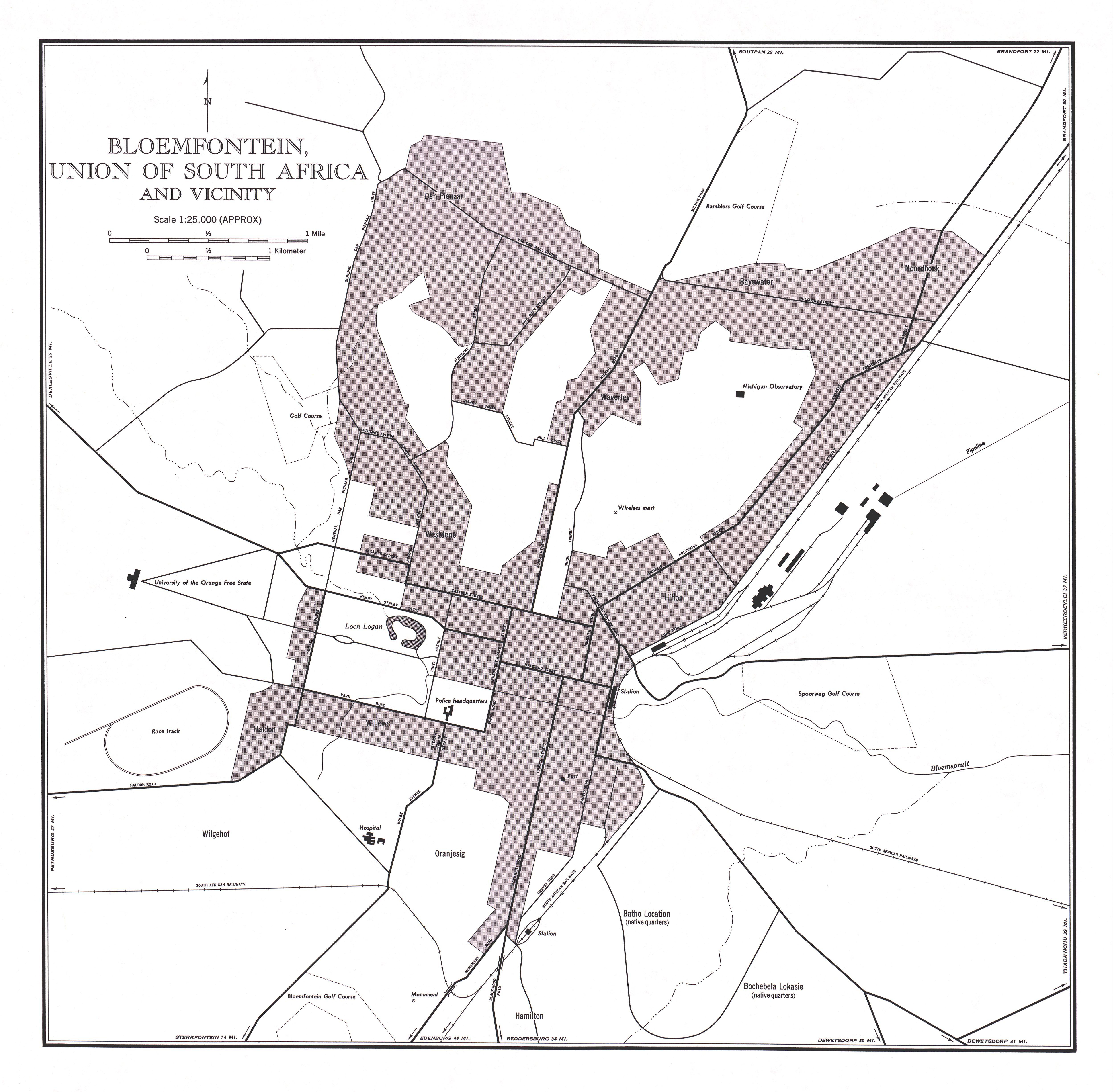 Mapa de Bloemfontein y Cercanías, Sudáfrica 1954