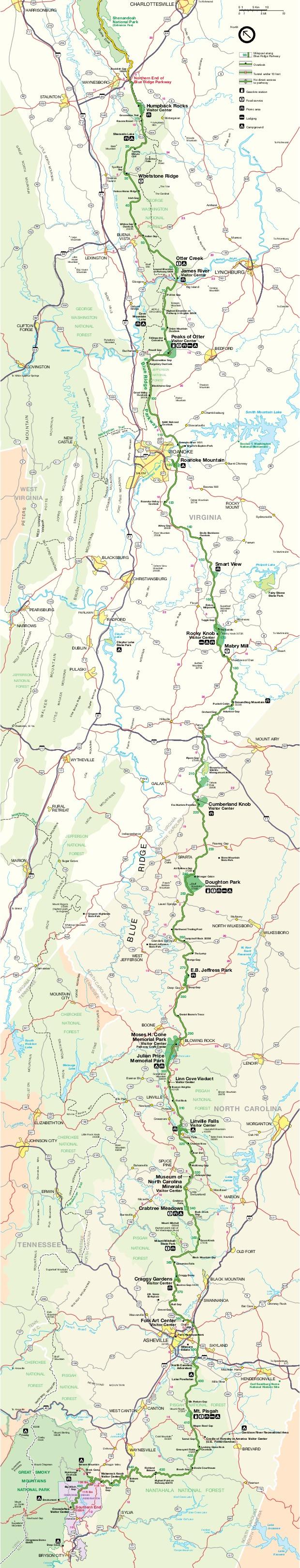 Mapa de Blue Ridge Parkway, Virginia, Carolina del Norte, Virginia, Estados Unidos
