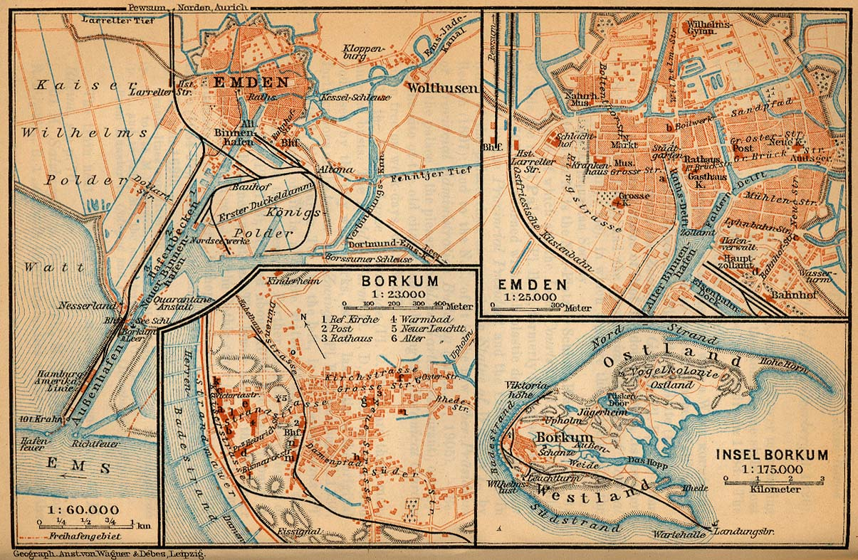 Borkum Map, Germany 1910